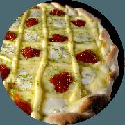 Doces: Queijo com Goiabada - Pizza Média (Ingredientes: Creme de Leite, Deliciosa Massa Doce Cuko