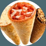Pizza cone: Alho - Pizza Cone (Ingredientes: Molho de Tomate, Muçarela, Alho torrado, Azeitona, Orégano)