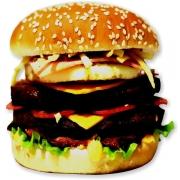 Hambúrguer: 02- Aprisco Picanha - Lanche (Ingredientes: Pão, Ovo, Bacon, 2fatias de queijo cheddar, Calabresa, Alface, Cebola, Molho Especial, Ketchup, Mostarda, Maionese, Batata Palha)
