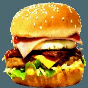 Hambúrguer: 04- X Egg Bacon + Presunto - Lanche (Ingredientes: Pão, Hambúrguer, Ovo, Bacon, Queijo Cheddar, Presunto, Alface, Cebola, Molho Especial, Ketchup, Mostarda, Maionese, Batata Palha)