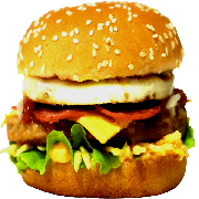 Hambúrguer: 11- X Egg + Calabresa - Lanche (Ingredientes: Pão, Hambúrguer, Queijo Cheddar, Ovo, Calabresa, Alface, Cebola, Molho Especial, Batata Palha)