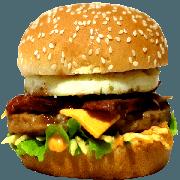 Hambúrguer: 10- X Egg Bacon - Lanche (Ingredientes: Pão, Hambúrguer, Queijo Cheddar, Ovo, Bacon, Alface, Cebola, Molho Especial, Ketchup, Mostarda, Maionese, Batata Palha)