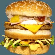 Hambúrguer: 08- Duplo X Egg + Presunto - Lanche (Ingredientes: Pão, 2 Hamburgueres, 2fatias de queijo cheddar, Ovo, Presunto, Alface, Cebola, Molho Especial, Ketchup, Mostarda, Maionese, Batata Palha)