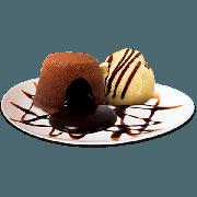 Sobremesas: Chocomenta - Brownie, amêndoas e sorvete de menta