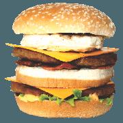 Hambúrguer: 07- Duplo X Egg + Calabresa - Lanche (Ingredientes: Pão, 2 Hamburgueres, 2fatias de queijo cheddar, Ovo, Calabresa, Alface, Cebola, Molho Especial, Ketchup, Mostarda, Maionese, Batata Palha)