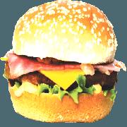 Hambúrguer: 05- X Bacon + Presunto - Lanche (Ingredientes: Pão, Hambúrguer, Bacon, Queijo Cheddar, Presunto, Alface, Cebola, Molho Especial, Ketchup, Mostarda, Maionese, Batata Palha)