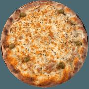 Tradicionais: Americana - Pizza Média (Ingredientes: Azeitona, Calabresa Moída, Catupiry, Cheddar, Mussarela, Orégano)