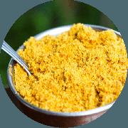 Guarnições: Farofa na Manteiga - Porção (Ingredientes: Cebola, Farofa na manteiga, Passas e Bacon)