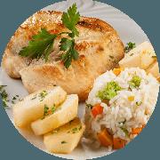 Filet Frango: Filet de Frango Grelhado Acebolado - Pratos a La Carte (Ingredientes: Escolha até dois acompanhamentos)