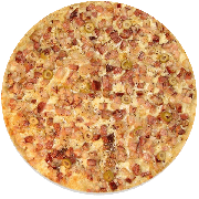 Tradicionais: Bacon - Pizza Grande (Ingredientes: Azeitona, Bacon, Mussarela, Orégano)