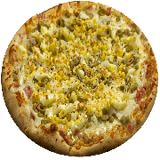 Tradicionais: Bonanza - Pizza Média (Ingredientes: Azeitona, Calabresa Moída, Cheddar, Mussarela, Orégano, Ovo, Pimenta)