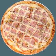 Tradicionais: Bonanza 1 - Pizza Média (Ingredientes: Azeitona, Catupiry, Lombo, Mussarela, Orégano, Peito de Peru)