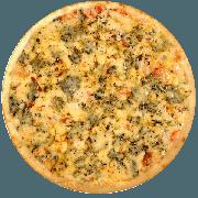 Tradicionais: Caipira - Pizza Média (Ingredientes: Azeitona, Bacon, Catupiry, Champignon, Frango, Mussarela, Orégano)