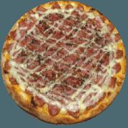 Tradicionais: Catupiresa - Pizza Média (Ingredientes: Azeitona, Bacon, Calabresa, Catupiry, Cebola, Mussarela, Orégano)