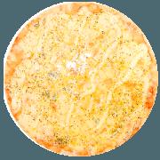 Tradicionais: Cinco Queijos - Pizza Média (Ingredientes: Azeitona, Catupiry, Gorgonzola, Mussarela, Orégano, Parmesão, Provolone)