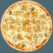 Tradicionais: Frango - Pizza Média (Ingredientes: Azeitona, Frango, Mussarela, Orégano)