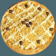 Tradicionais: Frango com Catupiry - Pizza Média (Ingredientes: Azeitona, Catupiry, Frango Desfiado, Mussarela, Orégano)