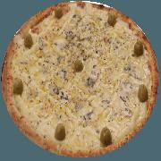 Tradicionais: Frango Especial - Pizza Média (Ingredientes: Azeitona, Catupiry, Frango, Gorgonzola, Milho, Mussarela, Orégano)