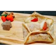 Esfihas Doces: Morango e chocolate - Esfihas e Mini Calzones (Ingredientes: açúcar e canela em pó, Chocolate, Morango)