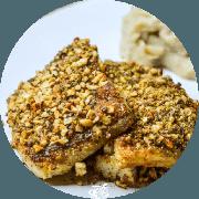 Peixes e Frutos do Mar: Peixe com Crosta de farinha de Linhaça e Castanha - prato (Ingredientes: (+2 Acompanhamentos), Castanha, Peixe com Crosta de Farinha de Linhaça)