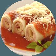Caneloni: Caneloni Presunto e Mussarela - Massas (Ingredientes: Presunto, Mussarela)