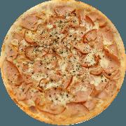 Tradicionais: Lombinho - Pizza Média (Ingredientes: Azeitona, Cebola, Lombo, Mussarela, Orégano)