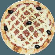 Tradicionais: Lombo Especial - Pizza Média (Ingredientes: Azeitona, Catupiry, Lombo Canadense, Mussarela, Orégano)