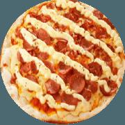 Tradicionais: Pepperoni - Pizza Média (Ingredientes: Azeitona, Catupiry, Mussarela, Orégano, Pepperoni)