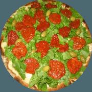 Tradicionais: Pizza Fina - Pizza Média (Ingredientes: Azeitona, Brócolis, Mussarela, Orégano, Rúcula, Tomate Seco)