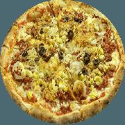 Tradicionais: Predileta - Pizza Média (Ingredientes: Atum, Azeitona, Calabresa Moída, Cebola, Orégano, Ovo, Pimenta)
