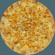 Tradicionais: Quero Mais - Pizza Média (Ingredientes: Azeitona, Catupiry, Frango, Milho, Mussarela, Orégano)