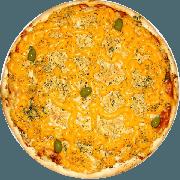 Tradicionais: Quero Mais Cheddar - Pizza Média (Ingredientes: Azeitona, Cheddar, Frango, Milho, Mussarela, Orégano)