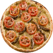 Tradicionais: Romana - Pizza Média (Ingredientes: Aliche Importada, Azeitona, Mussarela, Orégano, Tomate)