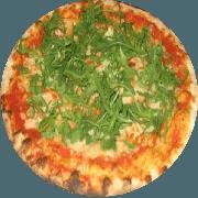 Tradicionais: Rúcula - Pizza Média (Ingredientes: Azeitona, Mussarela, Orégano, Rúcula)