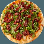 Tradicionais: Tomate Seco com Rúcula - Pizza Média (Ingredientes: Azeitona, Mussarela, Orégano, Rúcula, Tomate Seco)