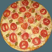 Tradicionais: Veneza - Pizza Média (Ingredientes: Azeitona, Mussarela, Orégano, Presunto, Provolone, Tomate)