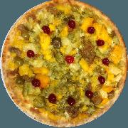 Doces: Califórnia Especial - Pizza Grande (Ingredientes: Ameixa de Figo, Mussarela, Pêssego, Salada de Frutas)