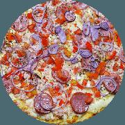 Tradicionais: Capeloti - Pizza Grande (Ingredientes: Calabresa, Cebola, Massa integral enriquecida com fibras (Chia, Gergelim e Linhaça), Molho de tomate caseiro sem conservantes, Orégano, Peito de Peru, Pimentão, Queijo mussarela light, Tomate)