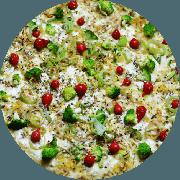 Tradicionais: Fitness - Pizza Grande (Ingredientes: Alho, Alho Poró, Brócolis, Massa integral enriquecida com fibras (Chia, Gergelim e Linhaça), Molho de tomate caseiro sem conservantes, Pimenta biquinho, Queijo mussarela light)