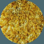 Tradicionais: El Pollo Frito - Pizza Grande (Ingredientes: Alho Frito, Frango, Massa integral com fibras (Linhaça, gergelim preto e chia), Molho de tomate caseiro sem conservantes, Orégano, Queijo mussarela light)