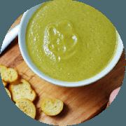 Sopa: Creme de Ervilha. 500ml - Sopa (Ingredientes: Alho, Azeite, Cebola, Cebolinha, Sopa cremosa feita com ervilha)