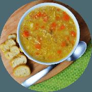 Sopa: Canja de Galinha. 500ml - Sopa (Ingredientes: Arroz integral, Batata inglesa, Cenoura, Frango desfiado temperado, Temperos)