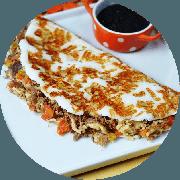 Tapioca: Da Casa - Tapioca (Ingredientes: Carne de sol desfiada acebolada, Queijo coalho, Tomate marinado)