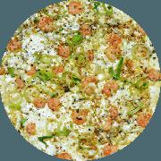 Tradicionais: Camarones - Pizza Grande (Ingredientes: Alho Poró, Camarão, Massa integral com fibras (Linhaça, gergelim preto e chia), Molho de tomate caseiro sem conservantes, Orégano, Queijo mussarela light)