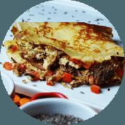 Crepe: Crepe da Casa - Crepe (Ingredientes: Carne desfiada de sol, Queijo Coalho, Tomate marinado)