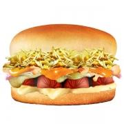 Hot Dog: Dalmata - Hambúrguer (Ingredientes: Batata Palha, Cheddar, Maionese, Milho, Molho Especial, Mussarela, Pão, Presunto, Salsicha)
