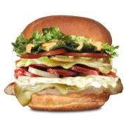 Gourmet: Gigante - Hambúrguer (Ingredientes: Alface, Calabresa, Cebola, Duas Fatias de Queijo, Filé de Frango 80g, Maionese, Molho Especial, Pão, Requeijão Cremoso, Tomate)