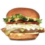 Gourmet: X-Carne - Hambúrguer (Ingredientes: Alface, Filé de Carne 150g, Maionese, Molho Especial, Pão, Queijo, Requeijão Cremoso, Tomate)