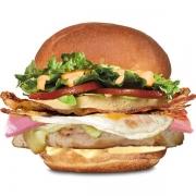 Frango: Frangão - Hambúrguer (Ingredientes: Alface, Bacon, Dois Ovos, Filé de Frango Grelhado, Maionese, Molho Especial, Pão, Presunto, Queijo, Tomate)