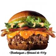 Artesanais: Cheddar Bacon - Hambúrguer (Ingredientes: Alface, Bacon, Cebola, Cheddar, Hambúrguer Artesanal de 100g, Molho Especial, Pão, Tomate)